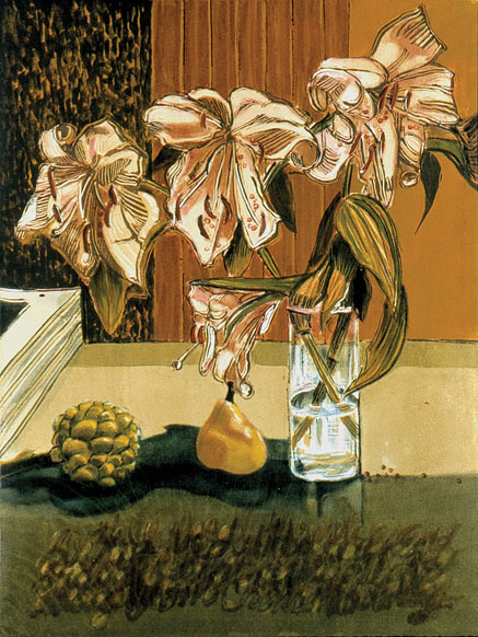 Four Lilies in Glass Vase