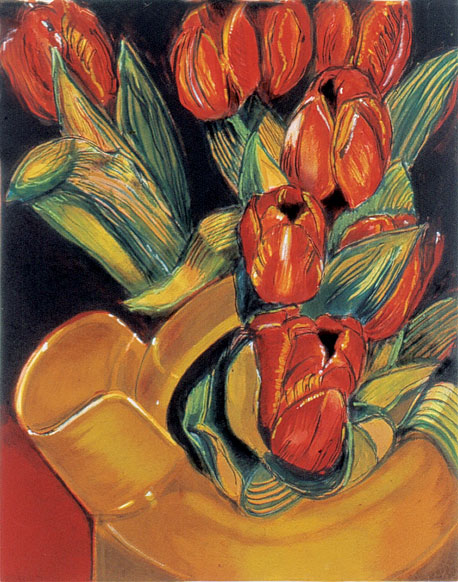 Red Tulips for a Yellow Vessel